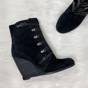 BCBGeneration Black Suede Wedge Booties Boots